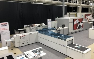 The SDD BLM6900 Booklet Maker adds the finishing touch to Hunkeler's new DocuTrim DT1 at the Canon Production Printing Business Days 2019 event